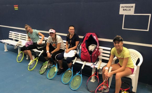 Slovenian Fed Cup team after first practices in Bath